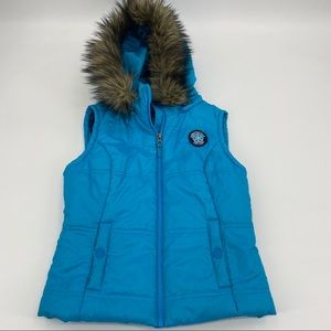Aeropostale turquoise faux fur hooded puffer vest
